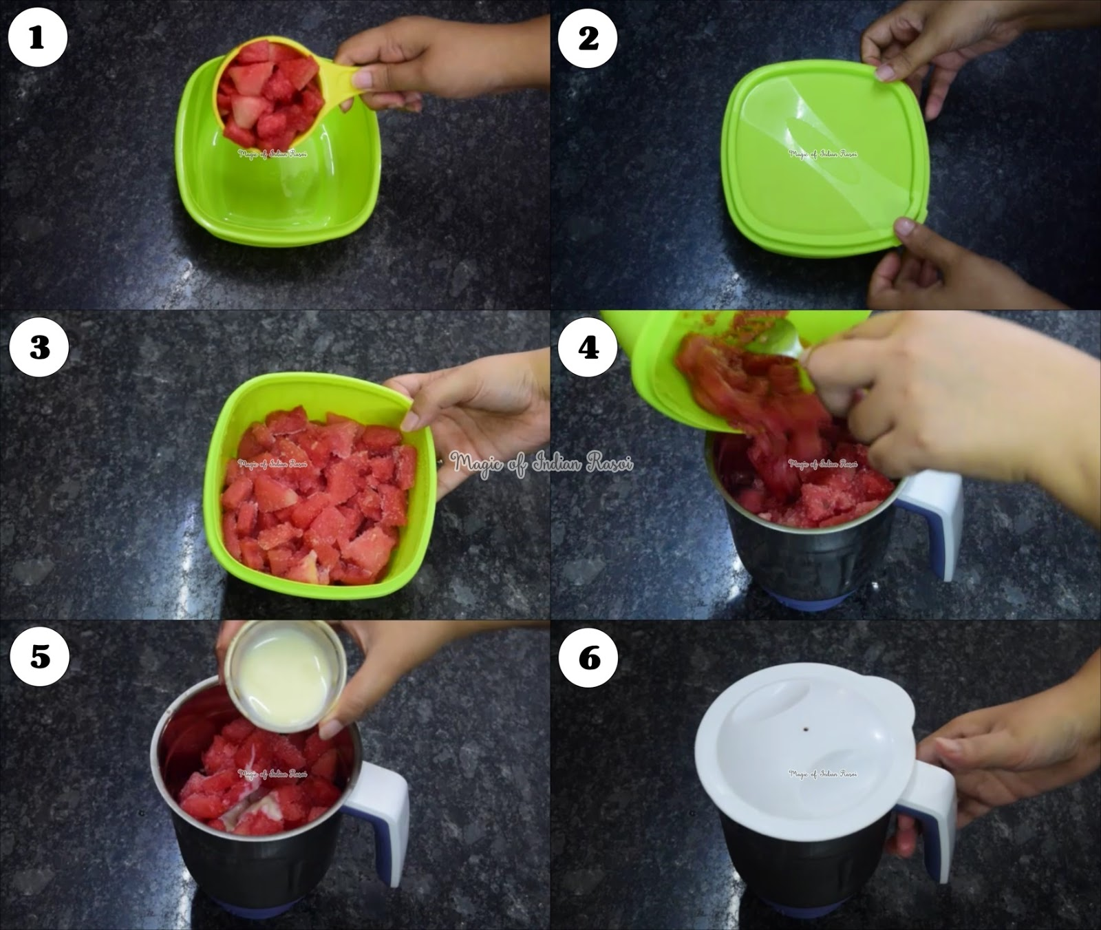 Watermelon Sorbet with 2 Ingredients - No Milk, No Cream - Watermelon Popsicle - तरबूज की चुस्की  रेसिपी - Priya R - Magic of Indian Rasoi