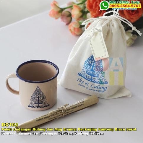 Paket Undangan Gulung Dan Mug Enamel Packaging Kantong Blacu Serut