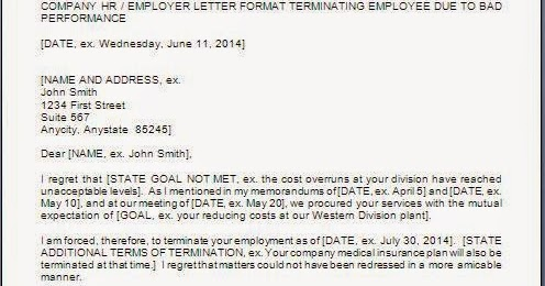 Employee Termination Letter Due To Poor Performance