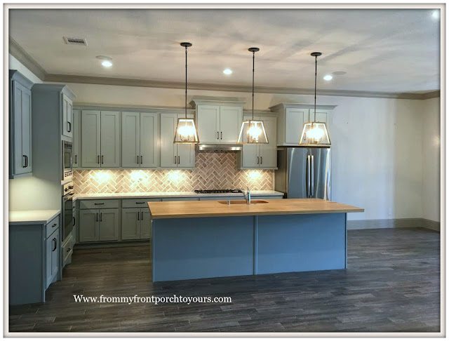 Model- Home-Tour-French-Flare-Open Concept-Kitchen-Island-Brick-Backsplash-From My Front Porch To Yours