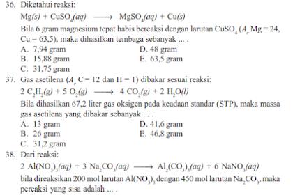 Contoh Soal UAS Kimia SMA Kelas 10 Semester 1