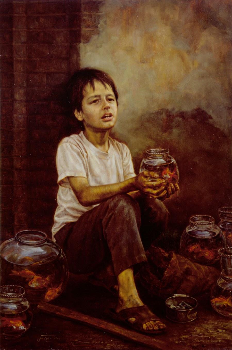 Peixeiro - Iman Maleki e suas pinturas realistas ~ Pintor iraniano