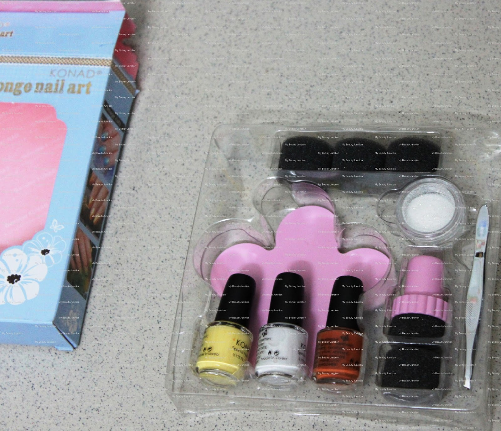 Konad Sponge Nail Art kit review, unboxing, photos