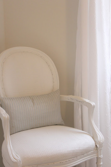 Shabby painted white Louis armchair by Hello Lovely Studio