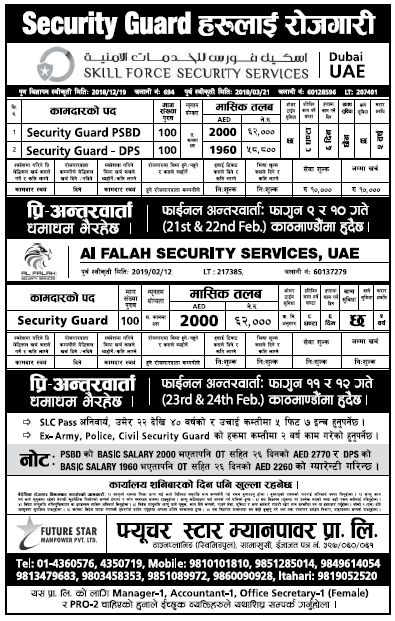 Jobs in UAE for Nepali, salary Rs 62,000