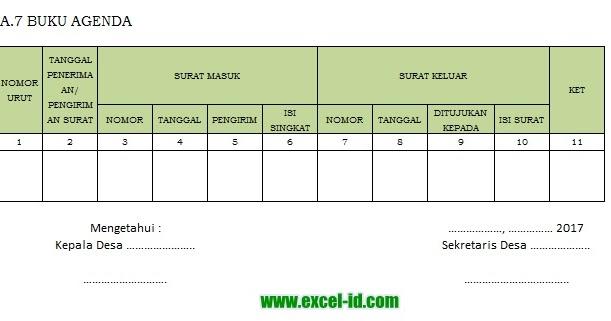 Contoh Format Buku Agenda Surat Masuk Dan Keluar Dengan Excel