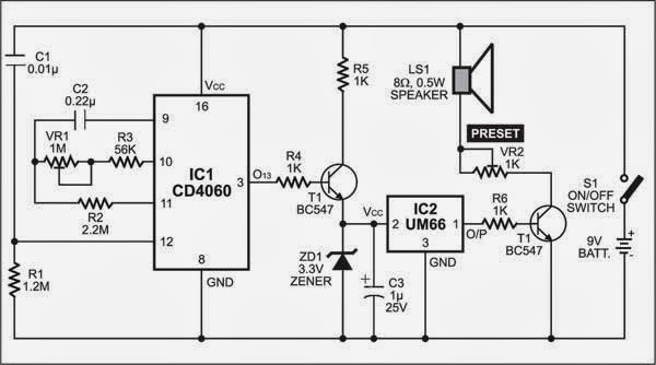 Simple Timer with Musical Alarm Circuit Diagram