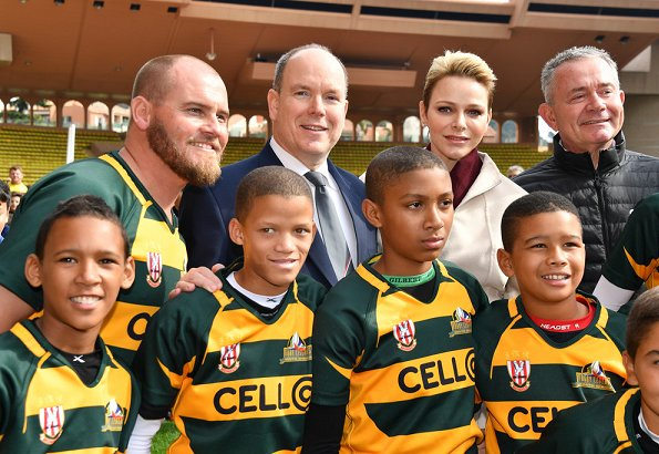 Princess Charlene, Princess Gabriela and Prince Albert II of Monaco attend the 7th Sainte Devote Rugby Tournament at the Louis II Stadium