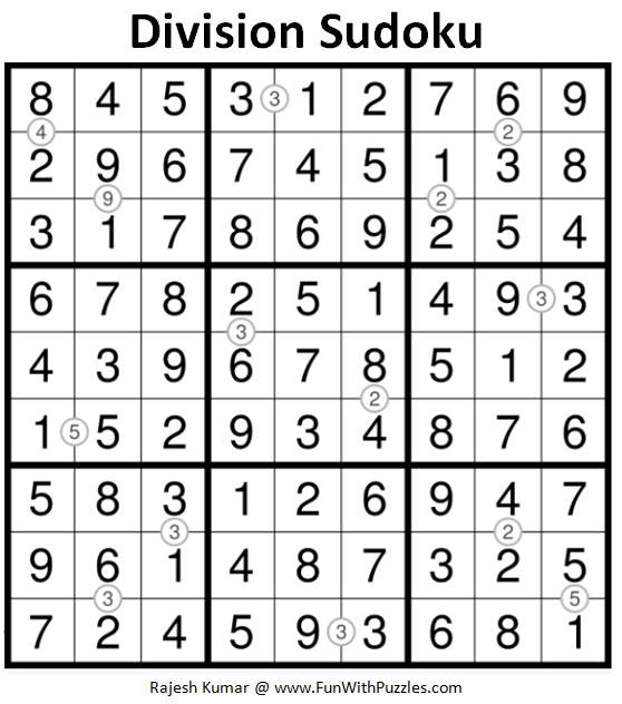 Division Sudoku (Fun With Sudoku #170) Answer