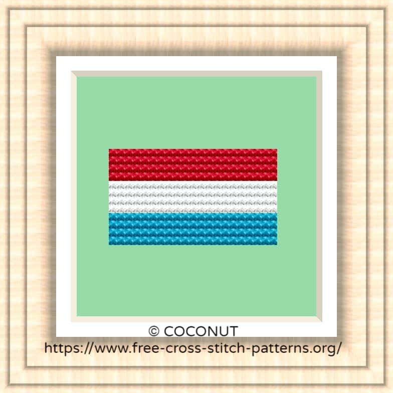 NATIONAL FLAG OF LUXEMBOURG CROSS STITCH CHART