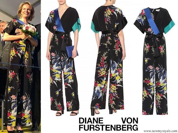 Queen Mathilde wore DIANE VON FURSTENBERG Floral-printed silk jumpsuit