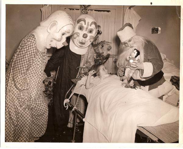 Santa visiting kids at the HospitalCreepy Vintage Photography