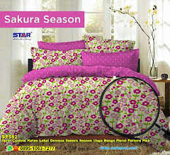 Sprei Custom Katun Lokal Dewasa Sakura Season Ungu Bunga Floral Pattern Pink