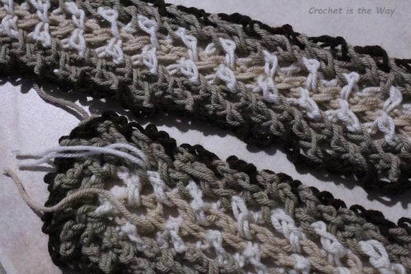 crochet, scarf, yarn tails, chain stitch, woven