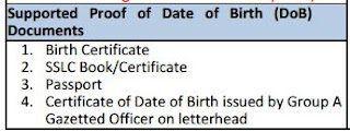 For Date of Birth Change/Update/Correction