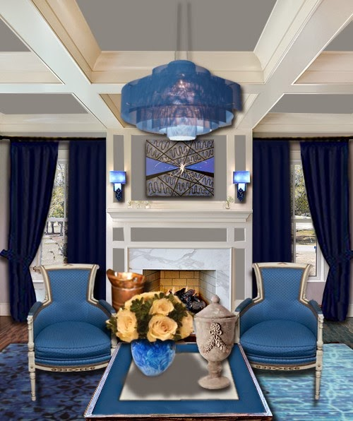 Salas en azul y blanco salas con estilo for Decoracion de sala gris y azul