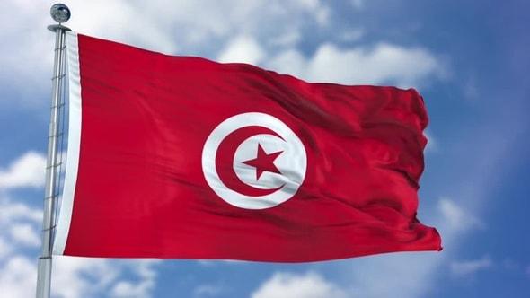 لقطات للمونتاج - العلم التونسي يرفرف بجودة 4K وبدون خلفية