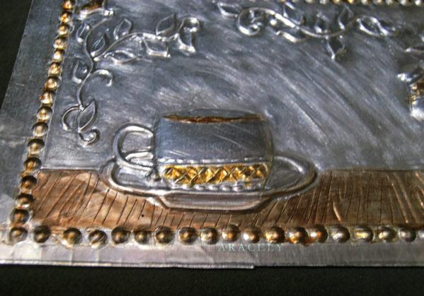 repujado aluminio tutorial porta filtrante