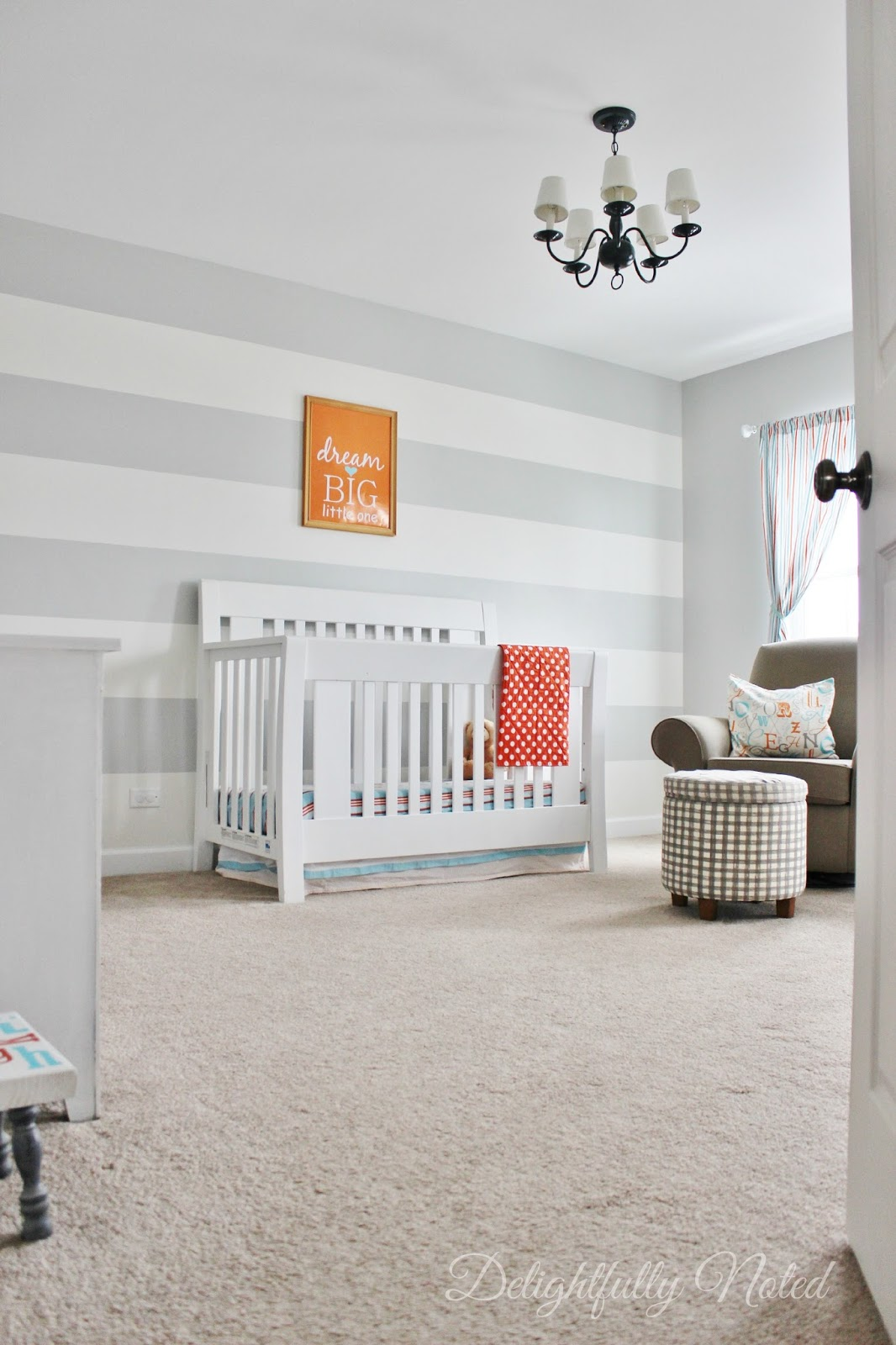 Delightfully Noted Home Tour - Modern Fresh Farmhouse Decorating Ideas - Nursery Striped Painted Wall