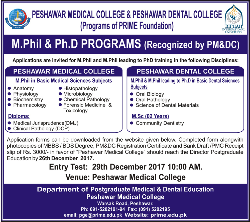 Admissions in Peshawar Medical and Dental College