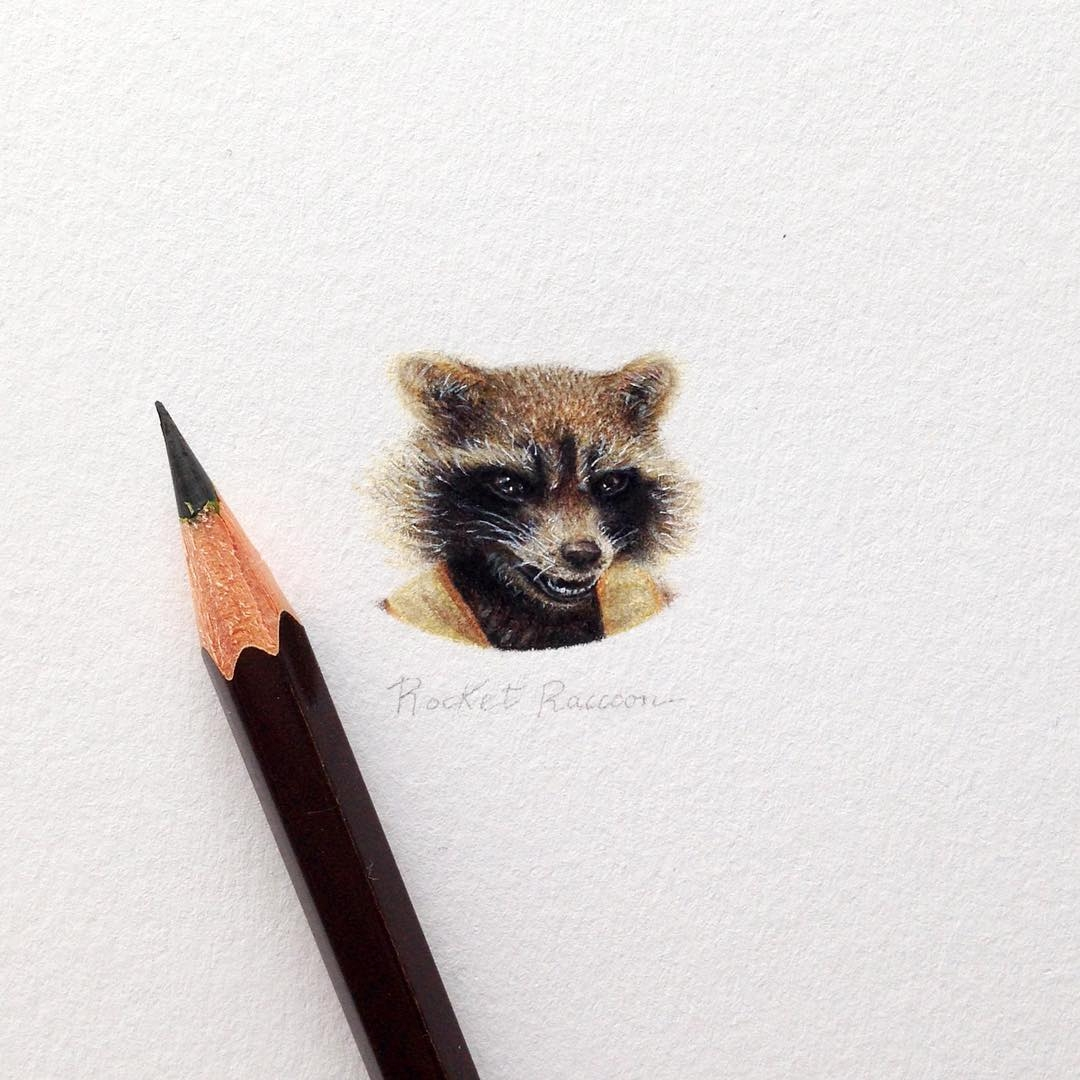 05-Rocket-Raccoon-Guardians-Of-The-Galaxy-Vol-2-Claudia-Maccechini-Miniature-Tiny-Drawings-www-designstack-co