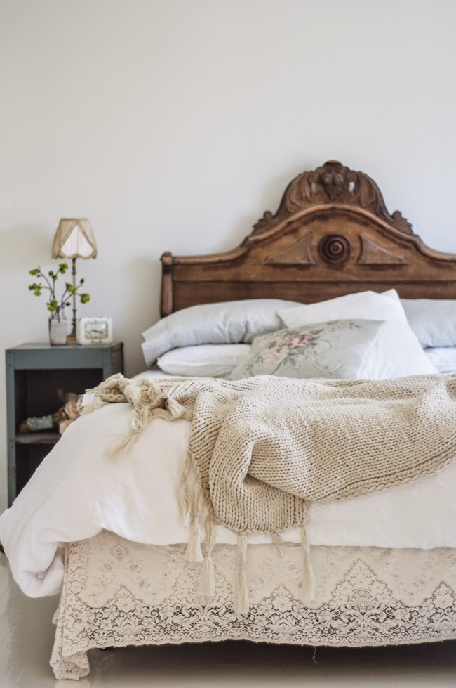 Carved Wood Headboard by Vintage Whites Blog