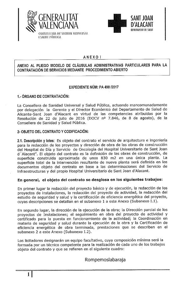 EL HOSPITAL S. JUAN DE ALICANTE LICITA EL SERVICIO DE ARQUITECTURA ...