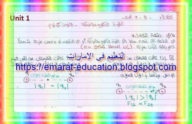 ملخص فيزياء كامل للصف الثانى عشر الفصل الأول 2018-2019 - التعليم فى الإمارات