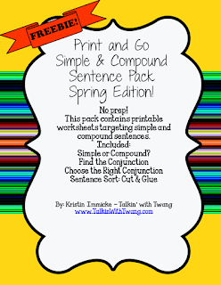 FREE Compound Sentence Packet