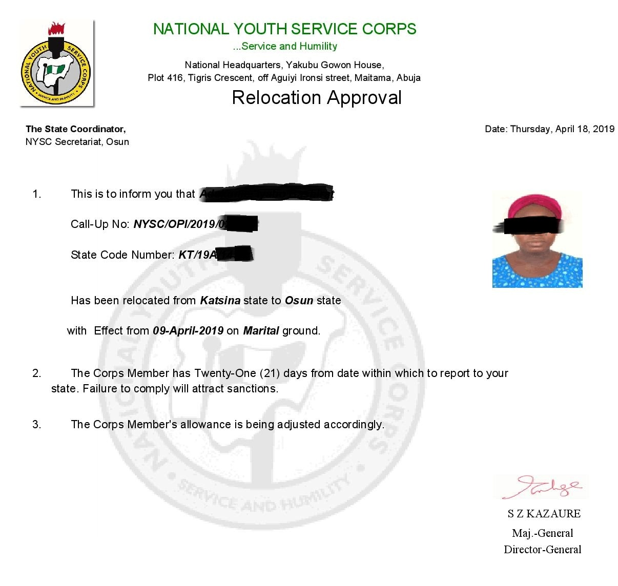Sample Of Nysc Ppa relocation Letter