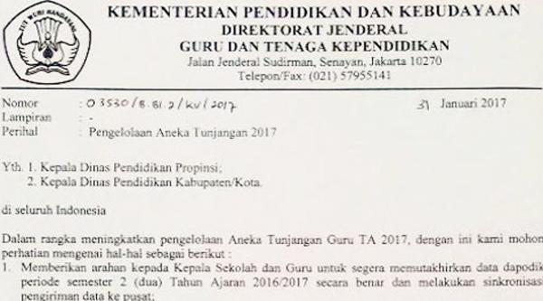 Daftar Guru Penerima Aneka Tunjangan 2017 Sesuai Surat Edaran DIRJEN GTK