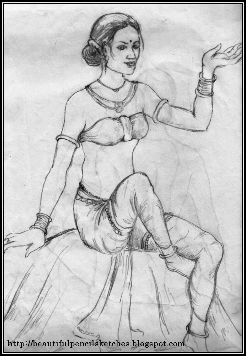I have sketched mainly the figure outlines and a little bit shading here in this sketch the girl is very beautiful with slim figure