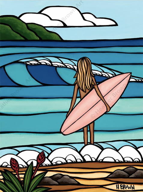 beach and wave art by heather brown