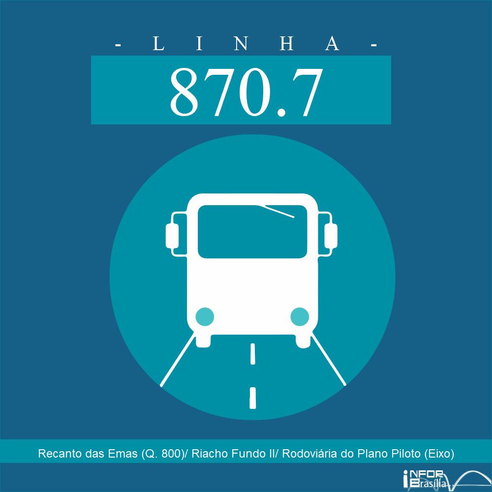 Horário de ônibus e itinerário 870.7 - Recanto das Emas (Q. 800)/ Riacho Fundo II/ Rodoviária do Plano Piloto (Eixo)