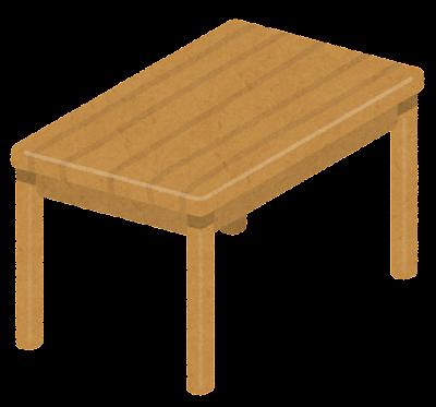 木のテーブルのイラスト(斜め)