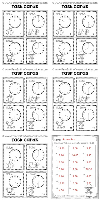 Fern Smith's Classroom Ideas Fall Time to the Hour and Half-Hour Free Task Cards, Recording Sheet and Answer Key at TeachersPayTeachers.