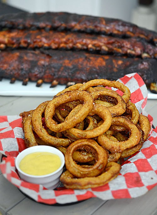 El Diablo Onion Ring Recipe, BBQ side dish, deep fryer recipe