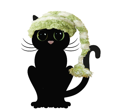 black cat in green santa hat