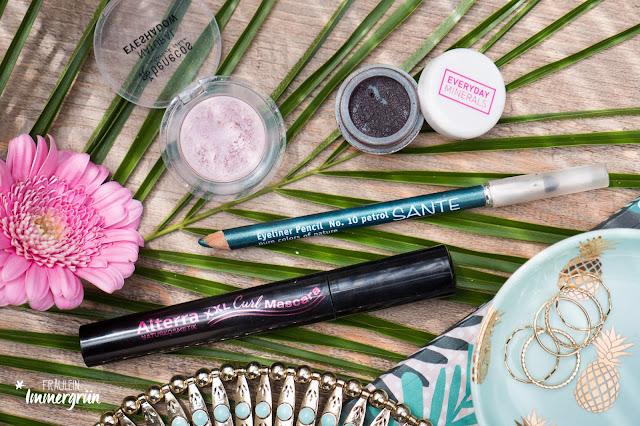 Everyday Minerals Eyeshadow It's complicated / Sante Eyeliner Pencil Petrol / Benecos Eyeshadow Rose Quartz / Alterra XXL Curl Mascara