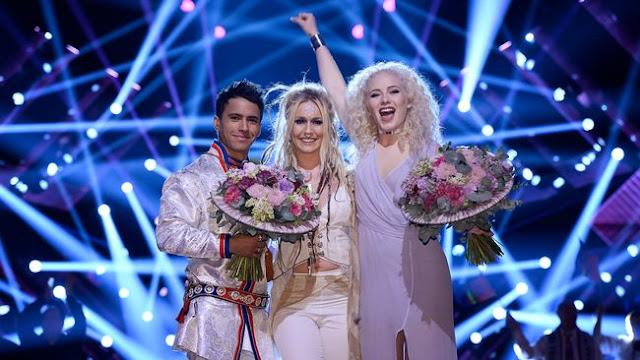 Jon Henrik Fjällgren feat. Aninia och Wiktoria är i final i Melodifestivalen 2017  (Photo: Stina Stjernkvist/SVT)