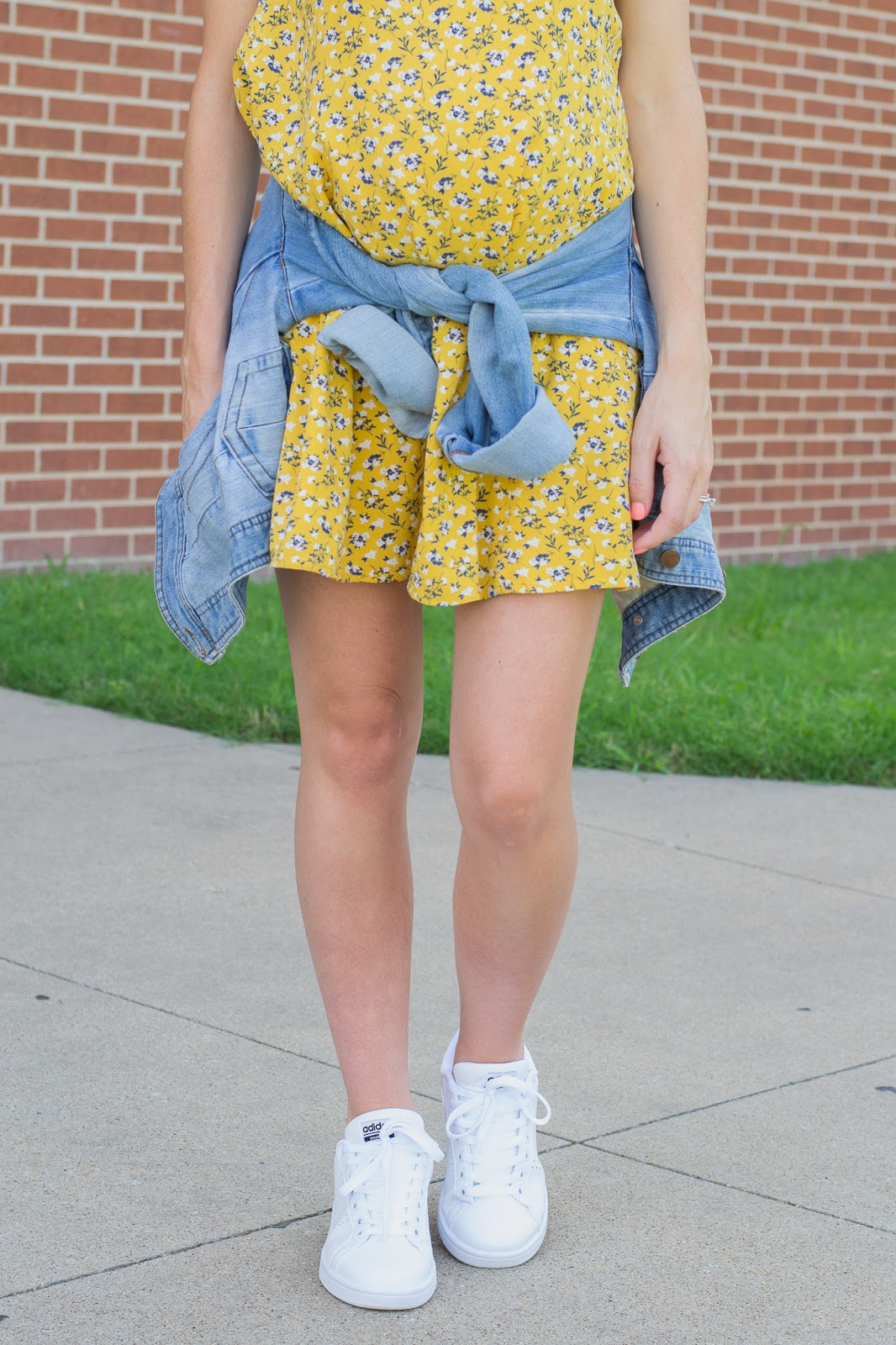 Summer Dress with sneakers and denim jacket