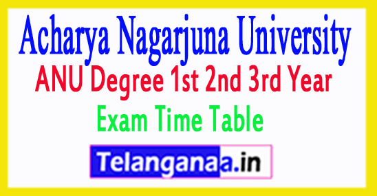 ANU Degree 1st 2nd 3rd Year Exam Time Table 2017