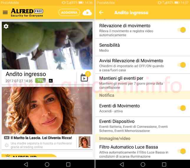 App Android Alfred gestione videocamera sorveglianza
