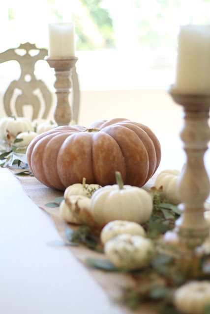 fall home tour table decor autumn simple neutral with pumpkins and wood candlesticks