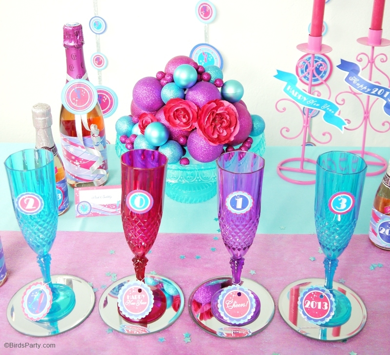 Pink & Teal Glam New Year's Eve Party & Free Printables - ideas on printables, DIY decorations, appetizers and party favors to celebrate the New Year! | BirdsParty.com