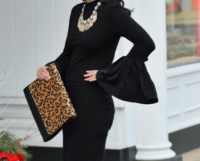 Leopard Clutch to accent Affordable Bell Sleeve Top