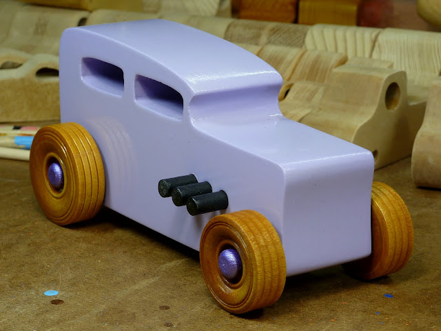 Wooden Toy Car - Hot Rod Freaky Ford - 32 Sedan  Right Side Front