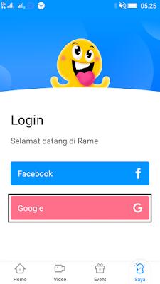 cara daftar di aplikasi rame android