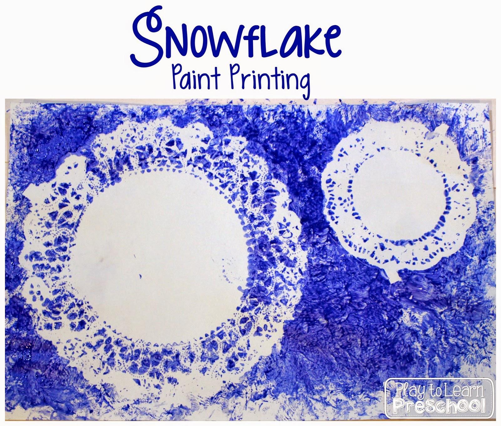 Play To Learn Preschool Snowflake Paint Printing