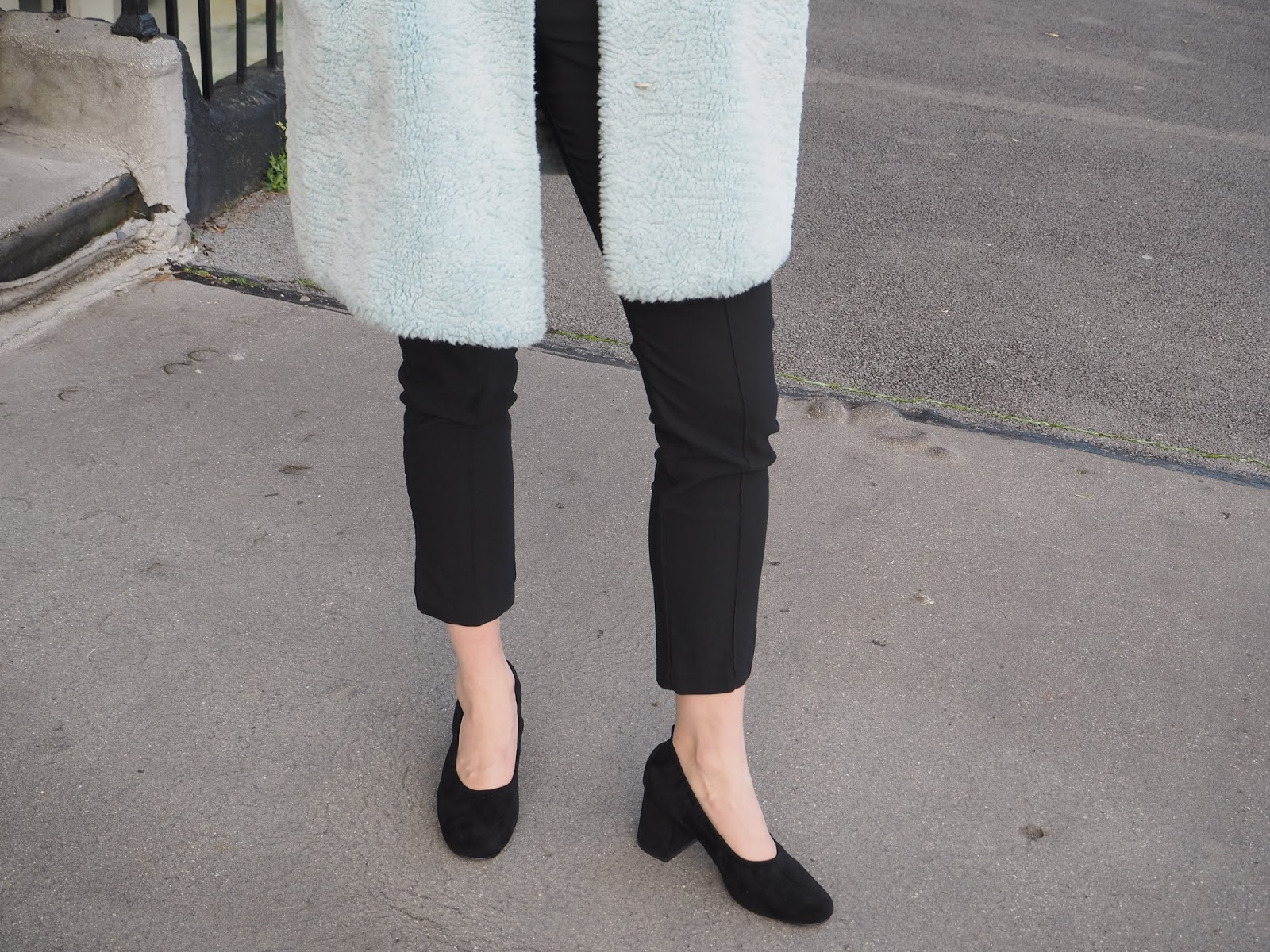 Sixties block heel ballet pumps and blue faux fur coat